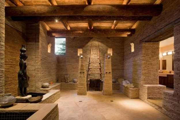 Photos On Stone and Wood Bathroom Design with Open Shower Stone Bathtub and Fireplace