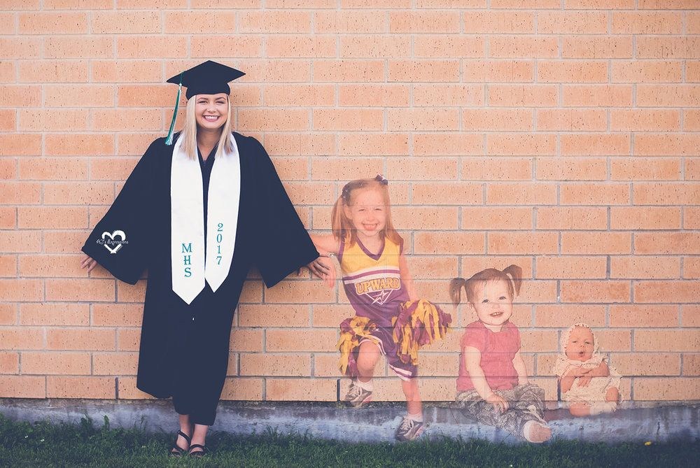 Senior cap and gown with baby pictures, senior girl against brick ...