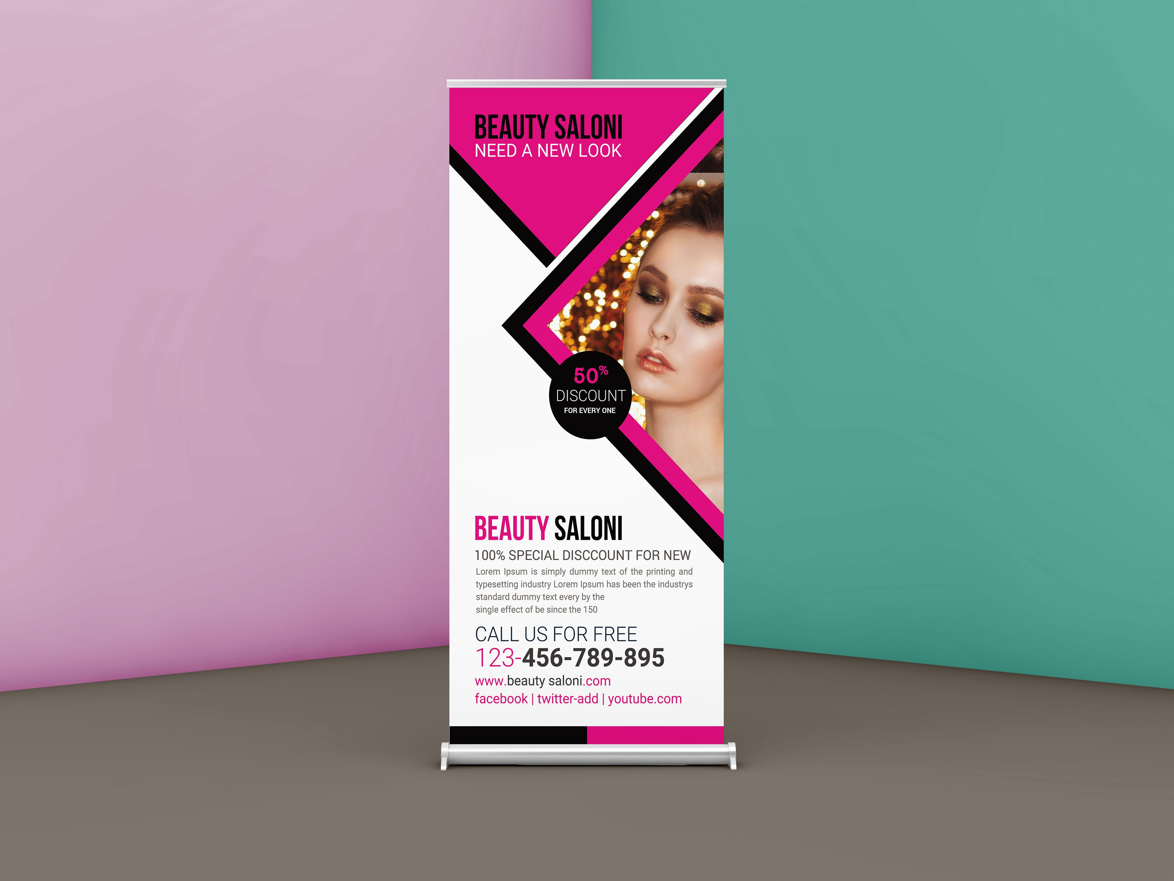 Free Beauty Salon Roll up Banner Design Template Banner
