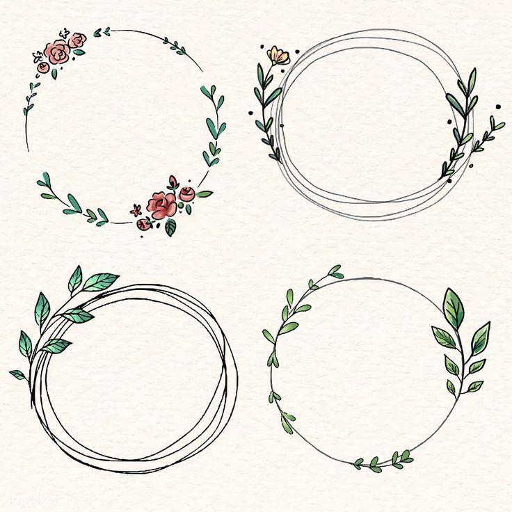 Photo of Laden Sie den Premium-Vektor der Vektor-Kollektion Doodle floral wreath 843865 herunter – Buc…