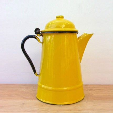 Vintage Retro Yellow Metal Tea Pot