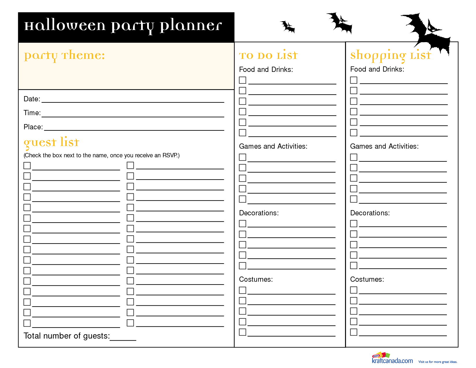 party planner template | Halloween Party Planner Party Theme | The ...