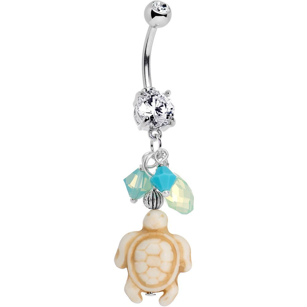 Belly button piercing plus size  Handcrafted CZ Ocean Drops Sand Turtle Dangle Belly Ring