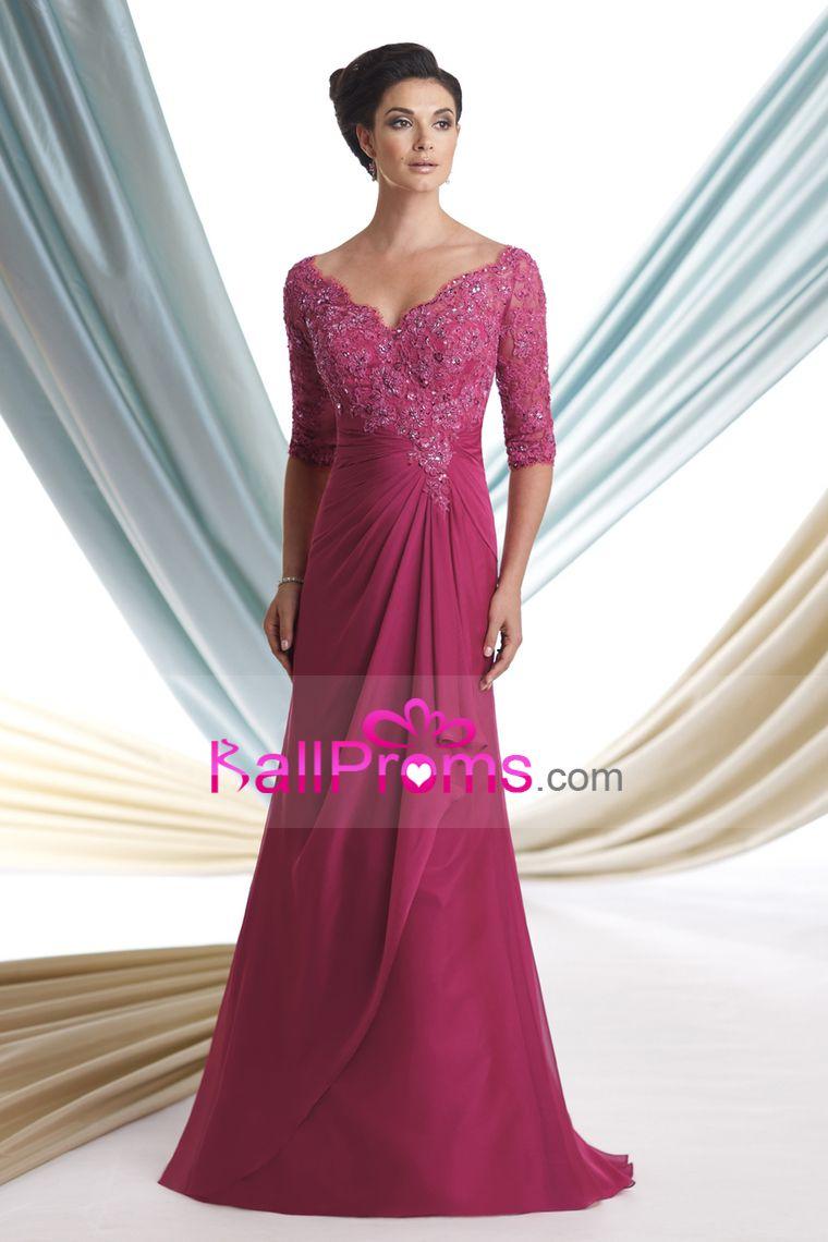 Mother of the bride dresses v neck mid length sleeve floor length