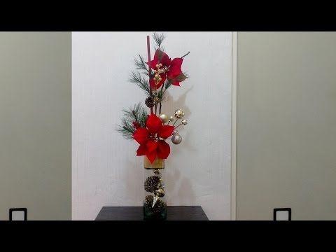 Como decorar una maceta navide a con nochebuenas diy - Youtube centros de mesa navidenos ...