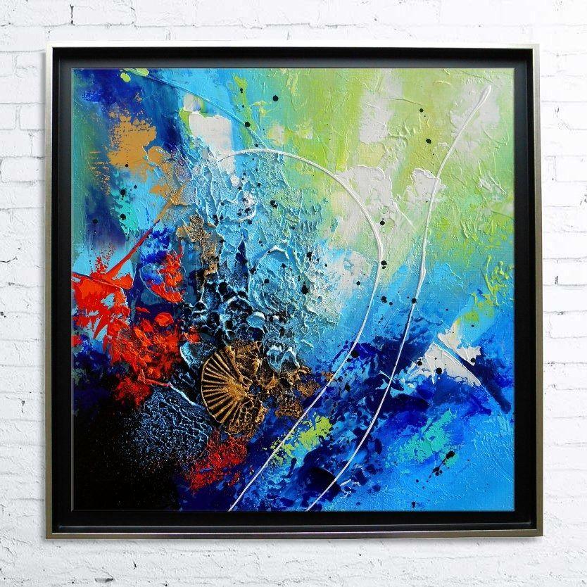 Tableau encadr abstrait moderne contemporain peinture acrylique en relief dor noir bleu vert - Tableau peinture acrylique moderne ...
