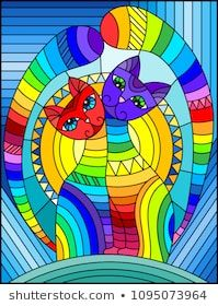 Illustration in stained glass style with a pair of abstract geometric rainbow cats on a blue background with sun #stockportfolio