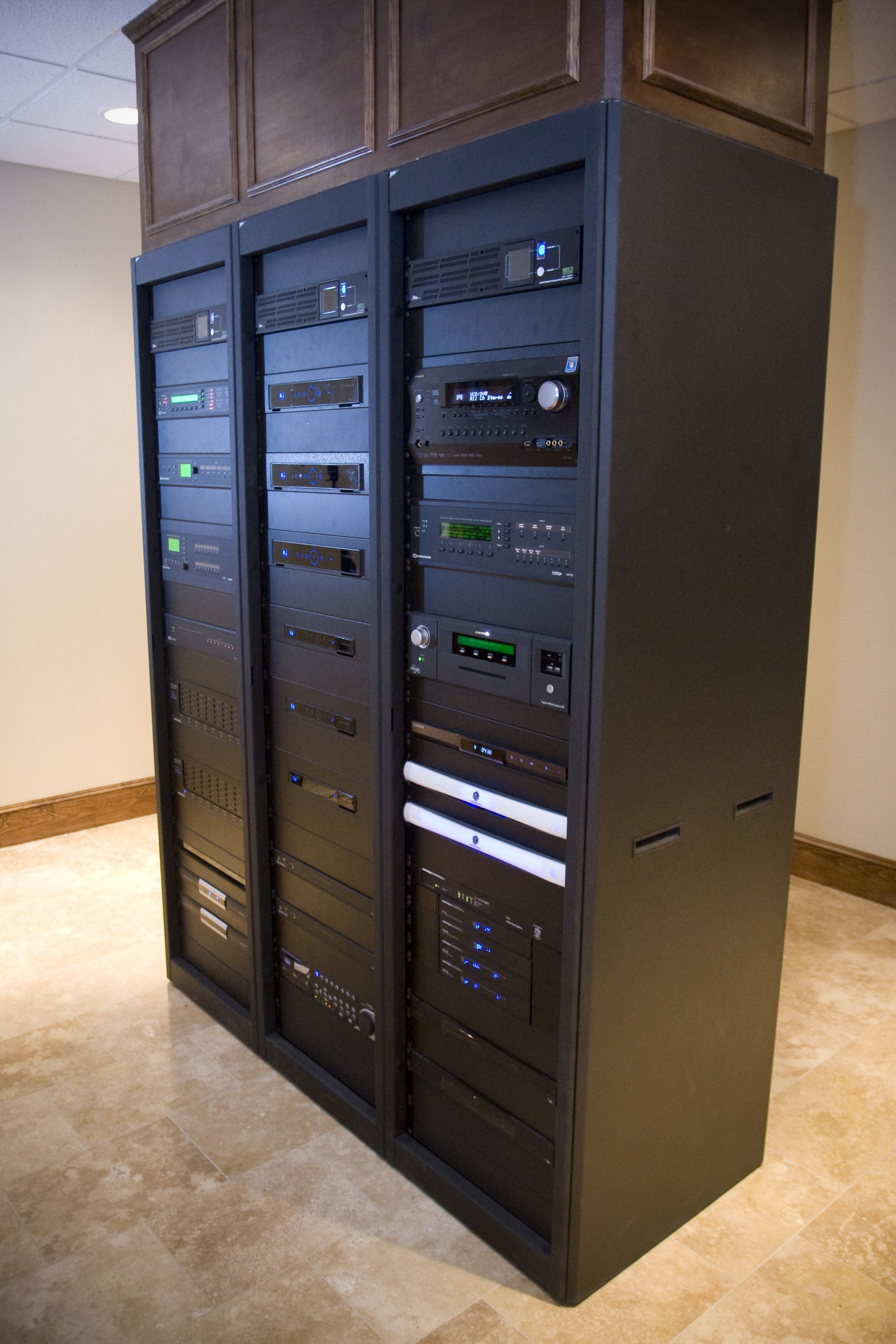 Equipment rack in our Champions Experience Center All of our audio