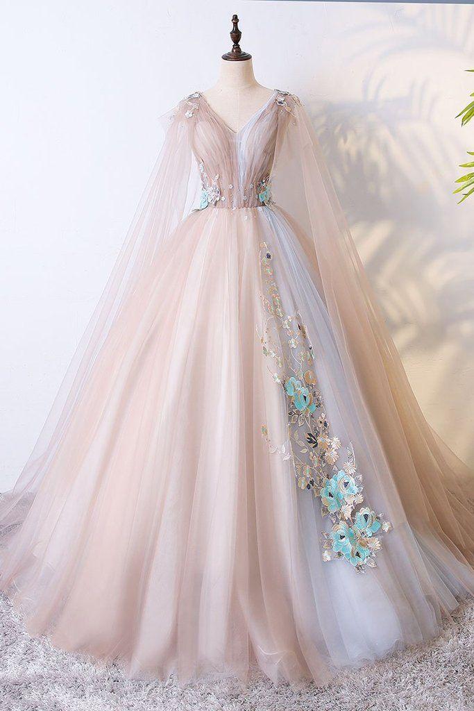 Champagne Tulle V Neck Long Evening Dress, Long Lace Appliqués Senior Prom Dress,P3925