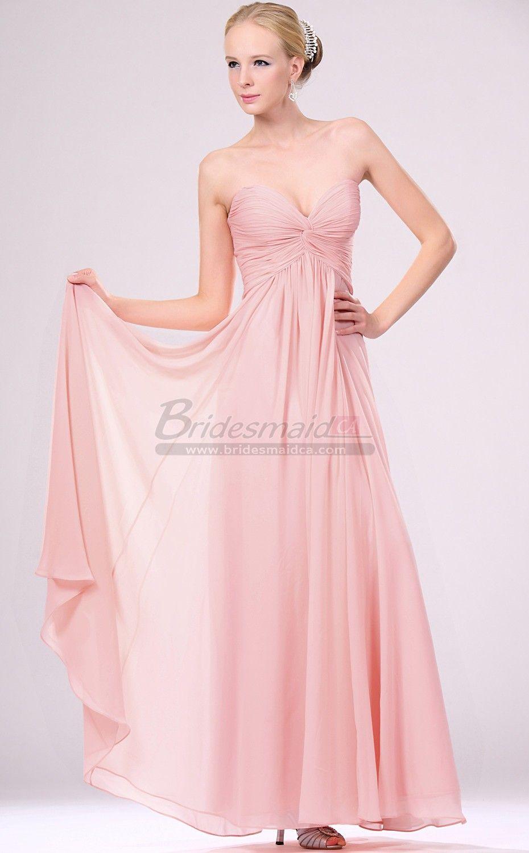 Long Sweetheart Neckline Chiffon Pink Bridesmaid Dress BD-CA465 ...