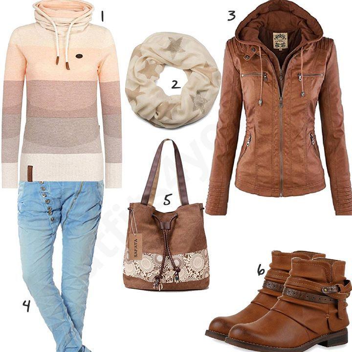 Braune Lederjacke, Shopper und Stiefeletten (w0600