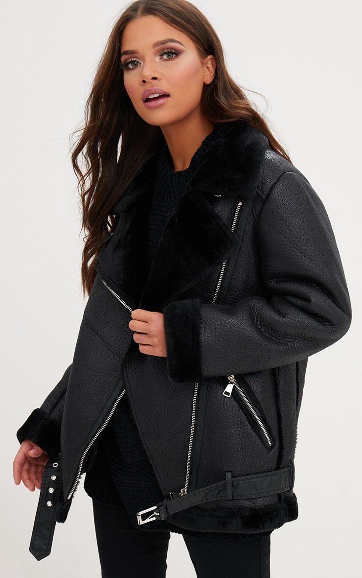 0b6341b44aa2 Black PU Aviator Jacket   Hot Style   Jackets, Aviator jackets, Coat