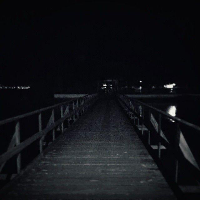Fusion Sombre Pier At Night Dark Creepy Night Blackandwhite Dark Landscape Night Dark