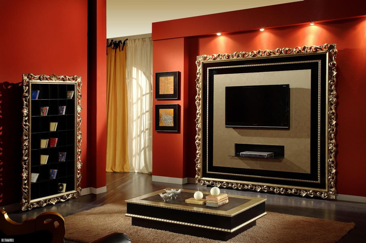 Luxury Living Room With Black Shiny Tv On The Wall With Orange Color ...