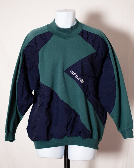 1fa62b27 Vintage 80s 90s ADIDAS Sweatshirt - green and navy - L in 2019 ...
