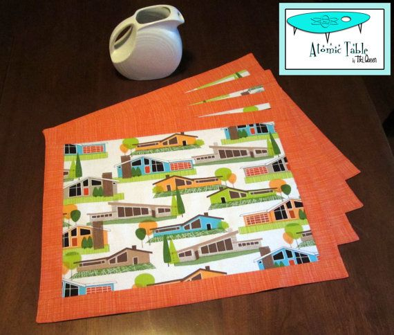 Retro Mod Atomic Mid Century Style Ranch House Place Mats, Hand Made by Tiki Queen