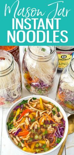 These Mason Jar Instant Noodle Soups are the perfect on-the-go work lunch and packed full of raw veggies quick-cook vermicelli noodles & shredded chicken! #instantnoodles #masonjar #mealprep