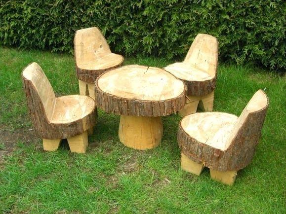 Wooden Garden Furniture, Tree Trunk Garden Furniture Uk