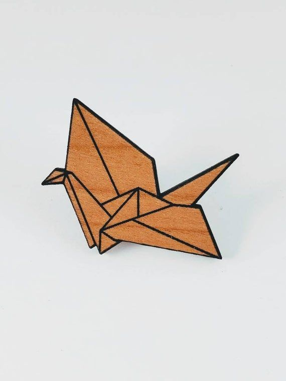 Photo of Origami crane pin – wooden tie pin – cherry wood button – Origami | entwurf