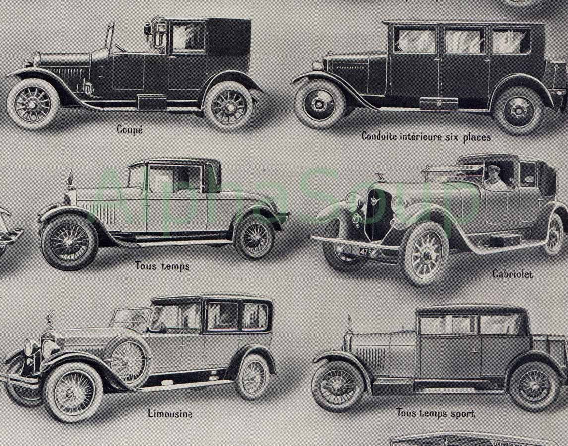 Vintage Automobiles Cars Buses Trucks French 1920\'s 2 Sided Original ...