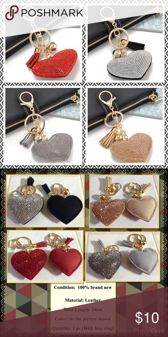 24c855cc08495 Crystal Heart Rhinestone Leather Tassel Keychain High quality heart shape  rhinestones leather tassel heart size 2