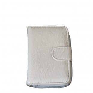 Portefeuille gris clair à pression et à multiples rangements pour cartes