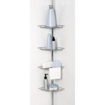 Chrome 4 Shelf Tub And Shower Tension Pole Caddy