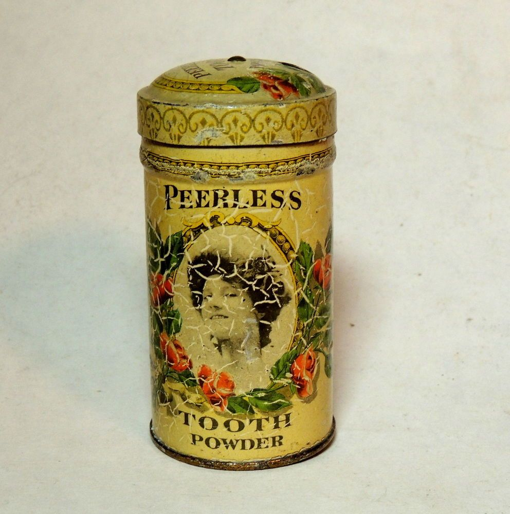 Antique vtg Victorian Figural Girl PEERLESS Tooth Powder Paste Talc TIN as-is #Peerless