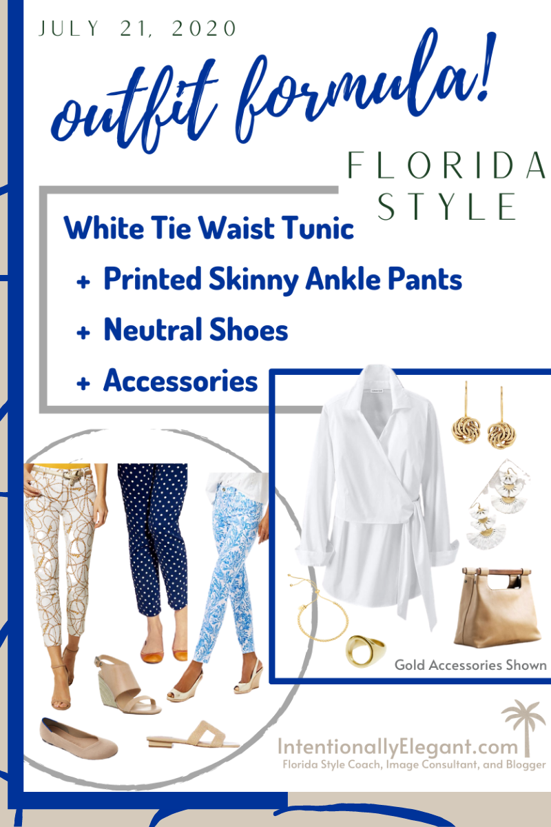 A classy Outfit Formula for you today!  An outfit formula is a tool you can use to always look and feel your best.  Today's example is just one that works for a Florida lifestyle. . Neutral shoes are a staple in a Florida wardrobe.  A good rule of thumb when selecting your best neutral shoe is to pick the one closest to your current hair color. . #imageconsultant #stylecoach #outfitformula