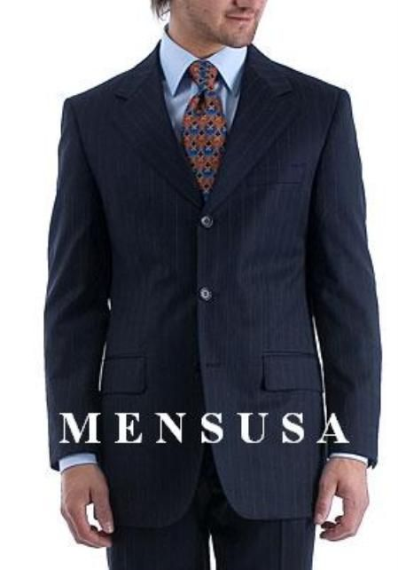 06d090947436 Stylish and fashionable notch lapel side vented 3 buttons navy pinstripe wool  suit for men made by high quality Italian fabric.