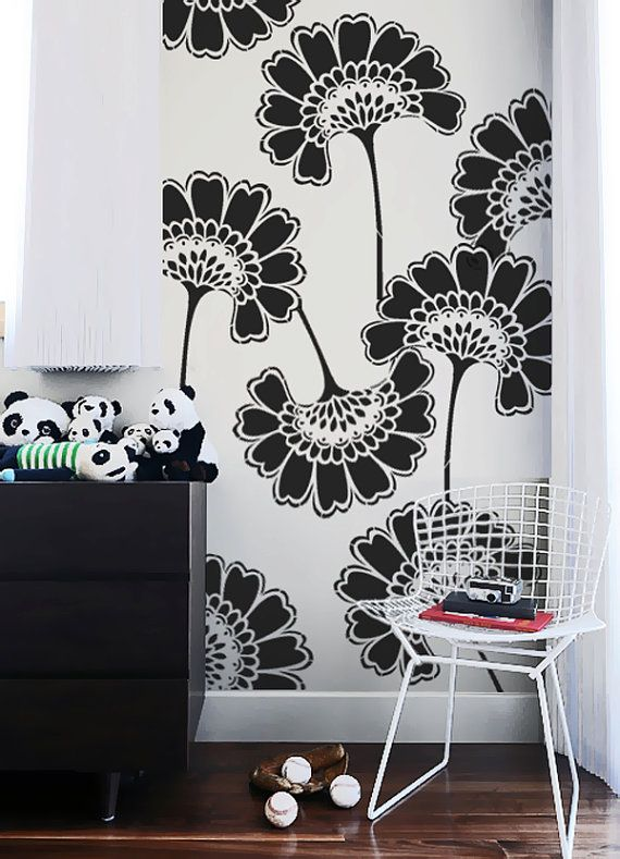Wall Stencil Oriental Asian Large Flowers Pattern By OMGstencils, $39.00