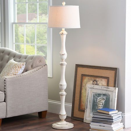 Hadley cream spindle floor lamp kirklands 69 99
