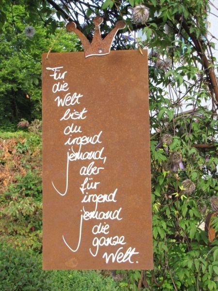 Edelrost schild mit krone welt wood art garten for Idee geschenk garten