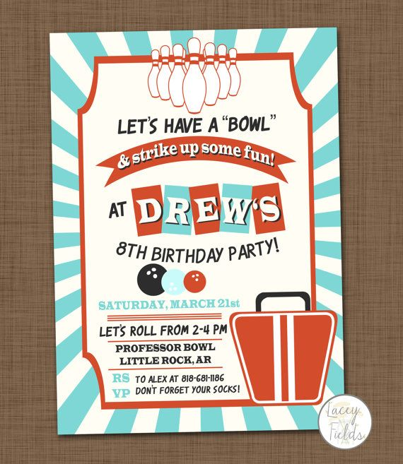 Bowling birthday party invitation printable Bowling invitation - bowling flyer template free
