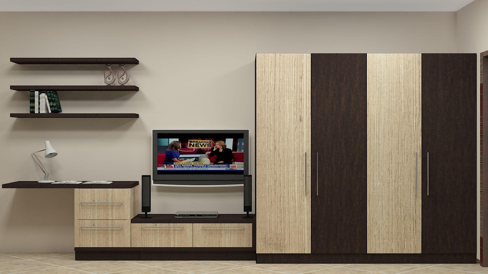 Modular wardrobe design for indian bedroom having 4 door along with tv unit study unit amp wall