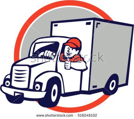 Illustration Of A Delivery Van Driver Driving Doing A Thumbs Up