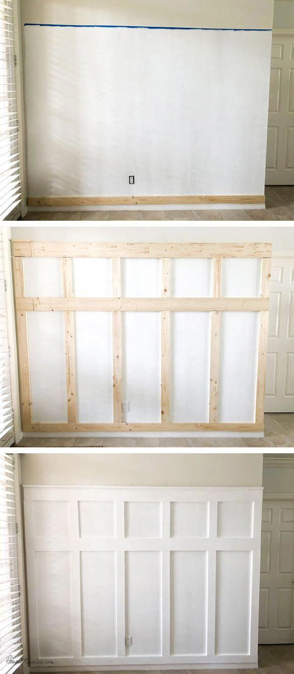 Board and batten wall DIY entryway #kitchenwalldecor #boardandbattenwall