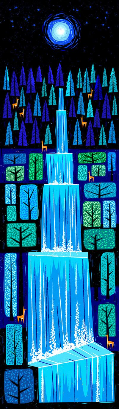 "Vintage Illustration: ""Waterfall"" by Peter Donnelly"