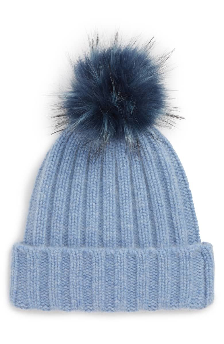 6b731b1893cac ... Atlantic Pacific X Halogen Collab and more! Blue Cashmere Beanie with Faux  Fur Pom Ribbed