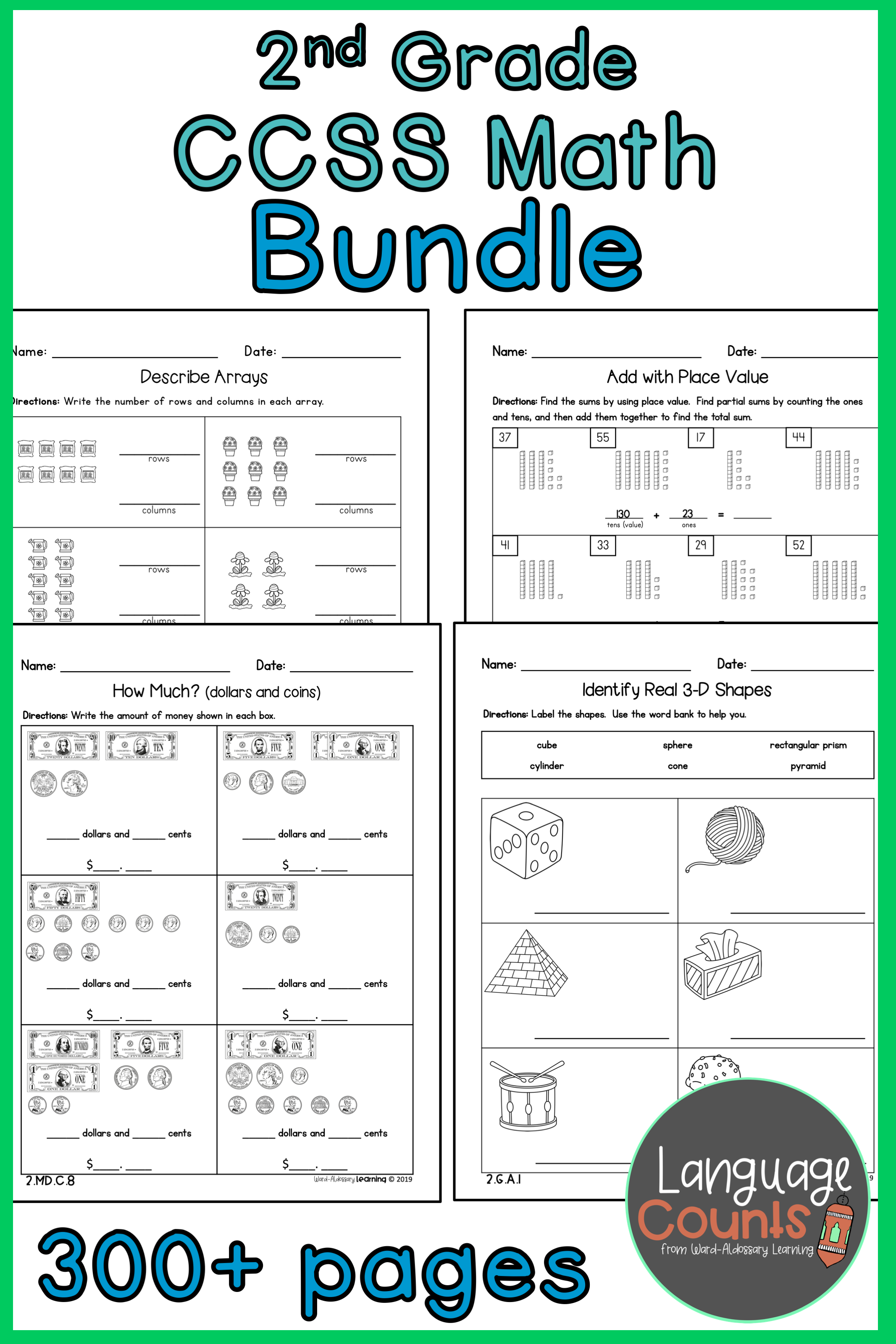 Distance Learning No Prep Worksheets Bundle 2nd Grade