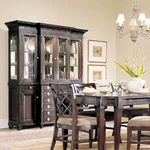 Dark Wood China Hutch And Dining Table Set
