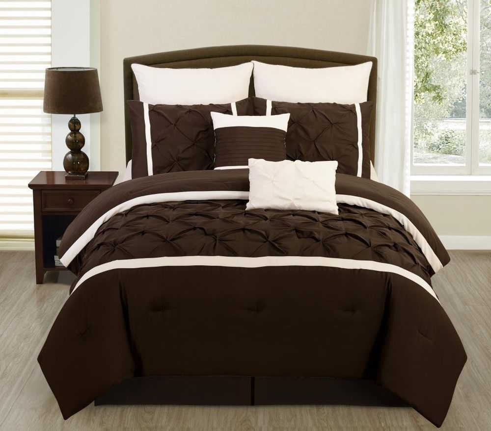 Brown bedding sets queen - 8 Pc Brown Cream Pintuck Design Microfiber Full Queen King Comforter Set Legacydecor