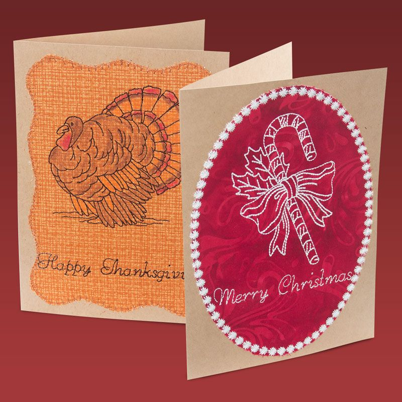 Create your own greeting cards with these redwork designs