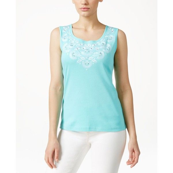 Karen Scott Embroidered Tank Top, ($23) ❤ liked on Polyvore featuring tops, island sky, embroidered top, scoop neck tank top, blue tank top, scoopneck top and karen scott tops