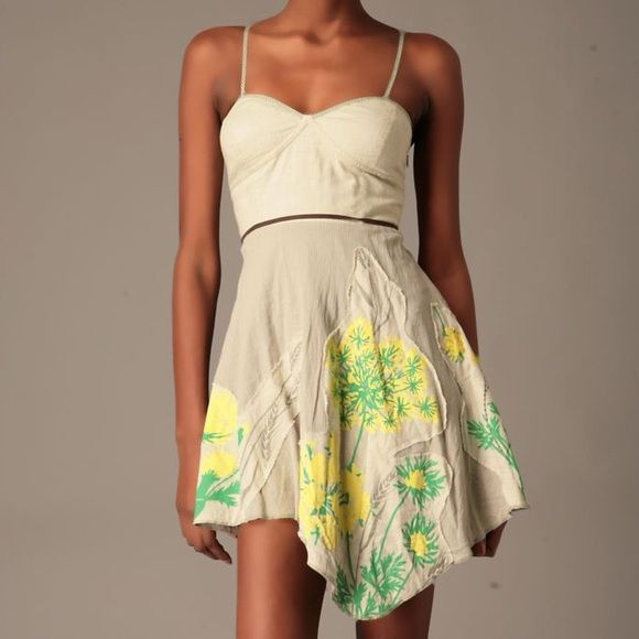 Free People Strapless Green A-Line Floral Dress S EUC - SUPER CUTE strapless, asymmetrical A-line dress by Free People. Label is a size 8, but runs small. It fits more like a 4/6 or S/M. One strap is included. I can't find the other one, sorry :(. Dress has a side zip. No rips/stains. Thank you for looking! Free People Dresses