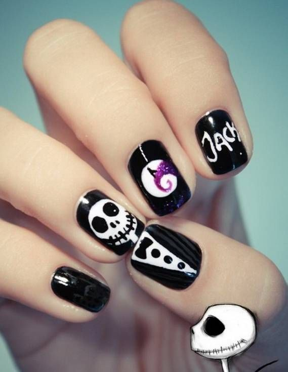 Jack Skellington, The Nightmare Before Christmas inspired nails ...