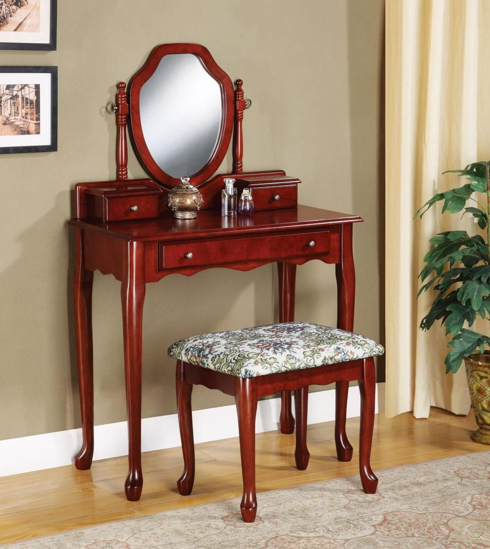 3441 antique cherry wood vanity makeup