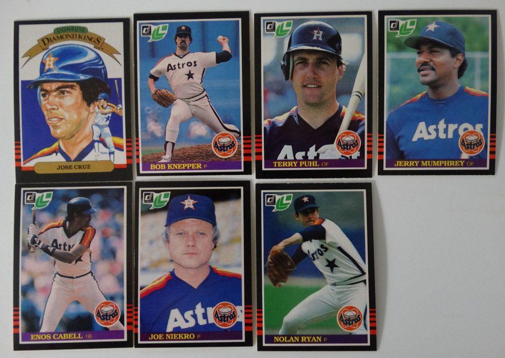 1985 donruss leaf houston astros team set of 7 baseball