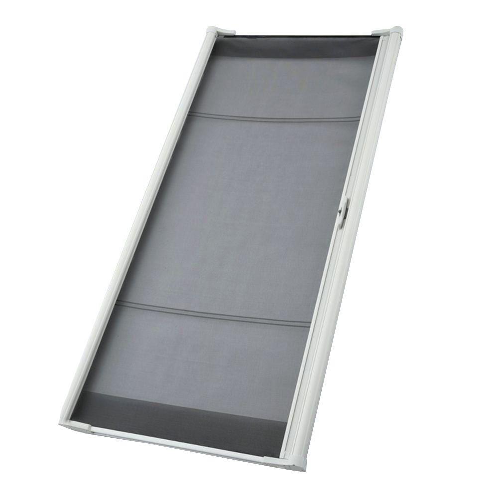 Odl 36 In X 78 In Brisa White Sliding Retractable Screen Door Zsmslw03 Retractable Screen Door Sliding Screen Doors Aluminum Screen Doors