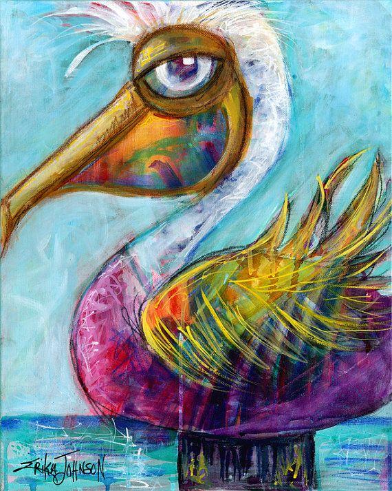 Viola Pelican costiere arte-the Beach Bum di ErikaJohnsonGallery